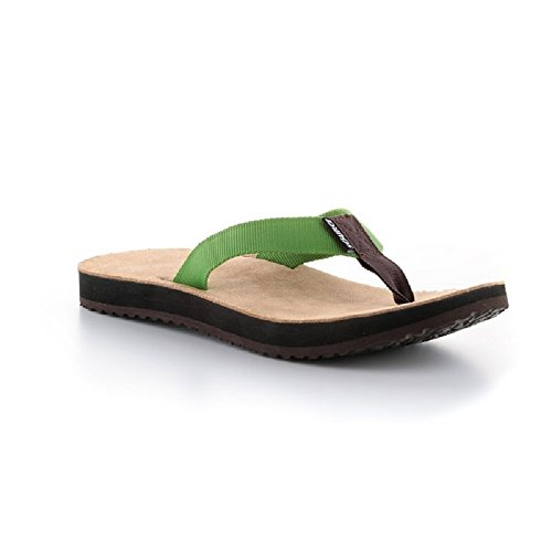Source Djibouti Leder Flip Flop Herren (40, Braun/Grün)