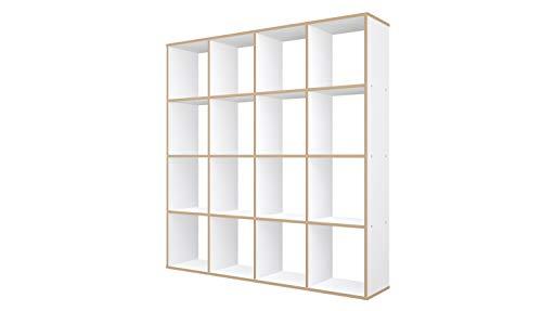 Polini Home Raumteiler Regal weiß 16 Fächer mit Holzoptik