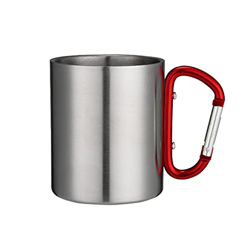 XUYUHUHU 200ml Stainless Steel Cup For Camping Traveling Outdoor Cup with Handle Carabiner Climbing Backpacking Hiking Portable Cups