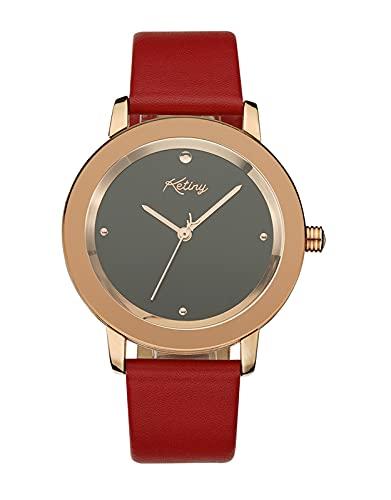 Reloj Mujer Elegante Roja Analógico Relojes de Pulsera Mujer Resistente al Agua Minimalista Relojes de Vestir para Mujer Cuero