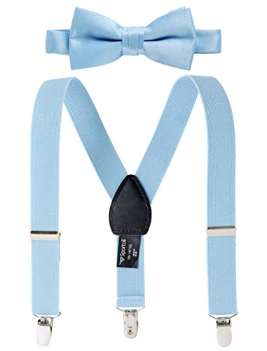 Suspenders for Kids Gift Set Wedding Tuxedo Genuine Leather Premium 1 Inch Suspender -Light Blue (30 Inch)