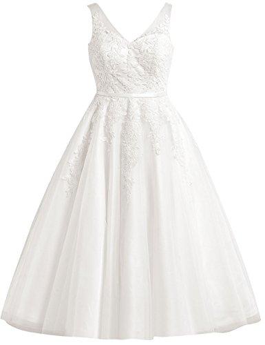 Brautkleid Kurz Tüll A-Linie Hochzeitskleid Vintage V-Ausschnitt Brautmode Spitzenkleid Partykleid Elfenbein 38