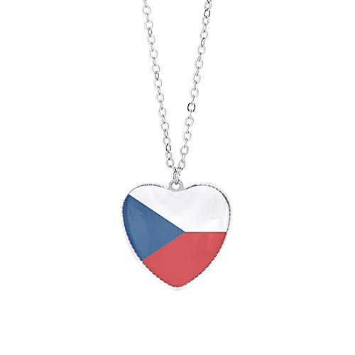 Tschechische Flagge Halskette Anhänger Kristallglas herzförmige Souvenir, Mode handgefertigte Halskette für Mann & Frau besonderes Tagesgeschenk