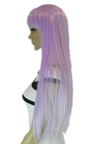 Qiyun Femme Longue Raide Complete Frange Loli Lolita Cosplay Anime Costume Partie Complete Cheveux Perruque - Pile Violet