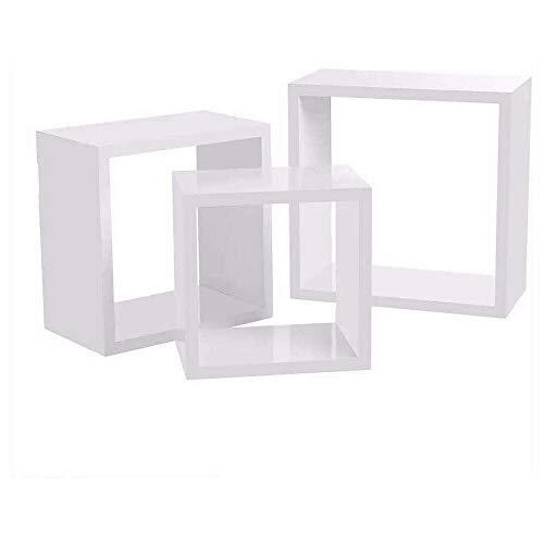 Vetrineinrete® Set 3 mensole a Parete in Legno MDF cubi Bianco Rovere Chiaro wenghé Quadrati scaffale libreria (Bianco) p29
