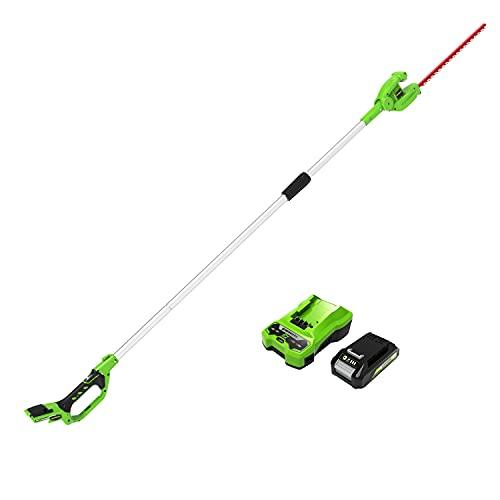 Greenworks cortasetos accu de largo alcance de batería G24PH51K2, Li-Ion 24V 51cm de longitud espada 18mm distancia entre dientes 1500 cortes/min 200cm eje dividido incl. batería2Ah y cargador