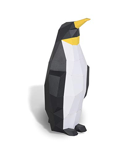 Escultura de Papel Rey Pingüino,Kit de Papel precortado,Figuras de Animales Hechas a Mano,Color Negro,Decoración casera de bajo polímero,Todos los Accesorios incluidos