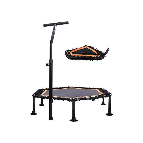 LKNJLL 48 Inch Mini Trampoline,Rebounder With Adjustable Foam Handle Fitness Trampoline for Kids Adults (Color : Orange)