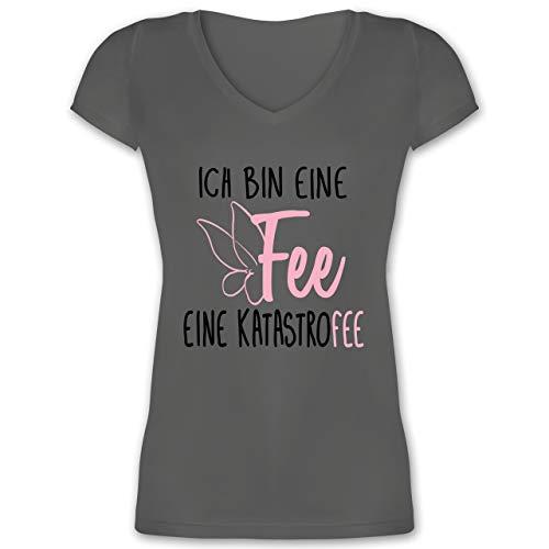 Sprüche - Ich Bin eine Fee - XS - Anthrazit - Fee - XO1525 - Damen T-Shirt mit V-Ausschnitt