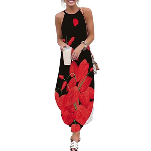Vestido De Cóctel De Playa Dividido De Manga Corta con Cuello Redondo Suelto Y Estampado Floral Bohemio para Mujer XXL