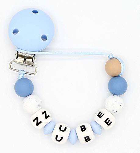 NUBE. Chupetero Personalizado con el Nombre del Bebe Niño. Alivio de las Molestias Propias de la Dentición. Diseño Exclusivo. Práctica Bolsa de Regalo.(BLUE)