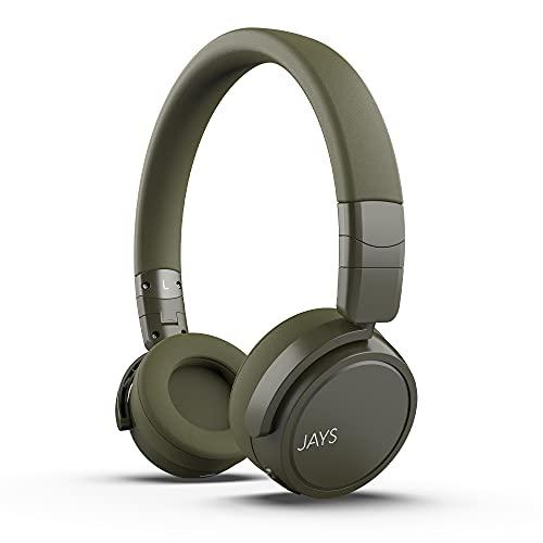 JAYS On Ear Earphones Bluetooth - x-Seven - Verde - Auriculares Inalámbricos On-Ear Wireless con 24h de batería y micrófono