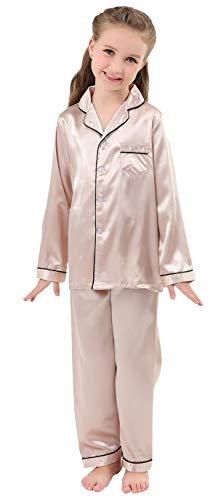 Kids Girls Boys Silk Satin Pajamas Long Sleeve Button-Down Sleepwear Nightwear