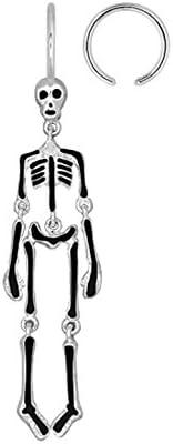 Moving Skeleton skull dangle Belly button navel Ring Captive piercing bar body jewelry 14g