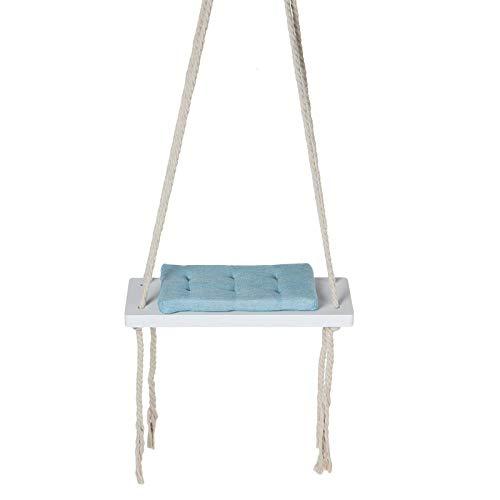 Jtoony Silla colgante para niños, columpio de seguridad, asiento de madera, con cojín para interiores y exteriores (tamaño libre; color: azul)
