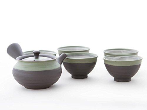 Ukou Japanisches Tee-Service 6-teilig, Tee-Kanne Kyusu 5 Schalen Tokoname Integriertes Tee-Sieb Edelstahl Geschenk-BO