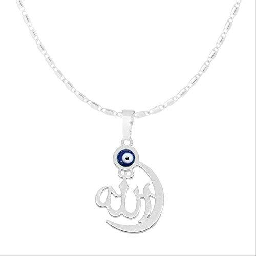ZJJLWL Co.,ltd Collar de Diamantes de imitación de Ojo Malvado Simple musulmán islámico S tótem Alá Mujeres Hombres Collar de Cadena joyería