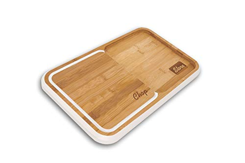 Machika Bamboo Cutting Board with Built In Divider and Juice Grooves, Kitchen Chopping Board for Vegetables, Fruits, Bread, Cheese and Much More, Wooden Butcher Block is Easy to Clean