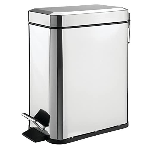 mDesign Cubo de basura rectangular con capacidad de 5 litros – Compacto contenedor de residuos con cubeta interior para oficina, baño o dormitorio – Moderna papelera de acero y plástico – plateado