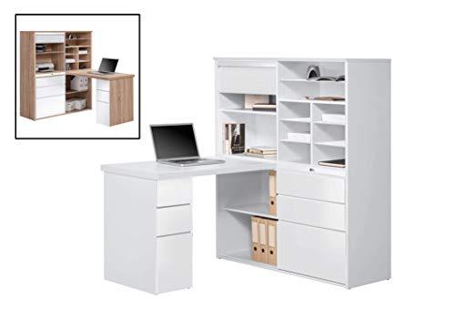 MAJA Möbel Minioffice, Holzdekor, Icy-weiß - Weiß Hochglanz, 126,60 x 187,00 x 150,00 cm