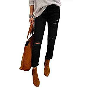 Women's Mid Rise Ripped Boyfriend Jeans Distressed Casual Denim Pants