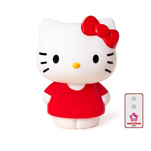 Teknofun- Hello Kitty roja Lampara con Control Remoto, Color Rosso (811159)