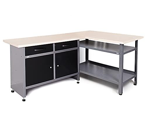 Ondis24 Werkstatt-Set Ecklösung Sparfuchs Plus 120 x 120 x 85cm (H), 2x Werkbank aus Metall, melaminbeschichtete Arbeitsplatte, Problemlöser für Ecke (180x120 Plus, Schwarz)