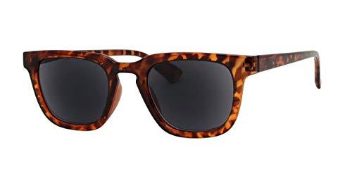 Lesebrille Retro Designer Schildpatt Braun Flexi-Bügel UV400 Getönte Gläser Sonnenbrille Herren Damen Hard Case Tuch 2,5