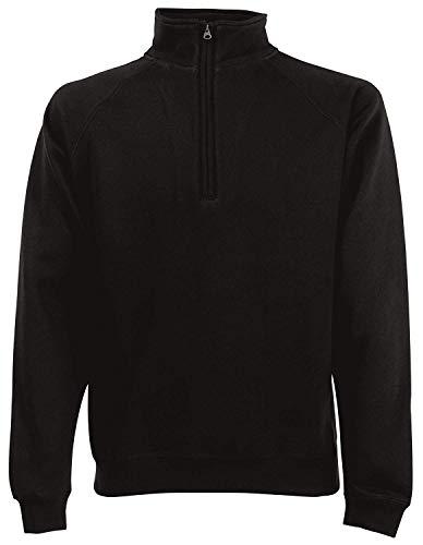 Fruit Of The Loom Herren ZIP NECK Classic Sweater Pullover Pulli Neu Sweatshirt , Größe:XXL, Farbe:Schwarz