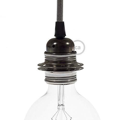 creative cables Kit Douille E27 en métal avec écrou Double Bague pour Abat-Jour - Conique, Perle Noire