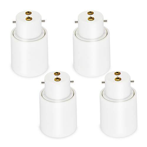Glühbirnen-Adapter, B22 auf E27 Sockel, Glühbirnen-Konverter (Bajonett auf Edison), energiesparend, BC Bajonettsockel, Lampen-Verlängerung, Adapter, Halterung 110 V-240 V AC, 4 Stück