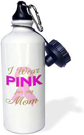 Queen54ferna - Botella de agua de aluminio con cita en inglés 'I Wear Pink for My Mom Mom Breast Cancer Awareness Cita para deportes acuáticos, color blanco, para senderismo, gimnasio, escuela, camping, para hombres, mujeres, niños