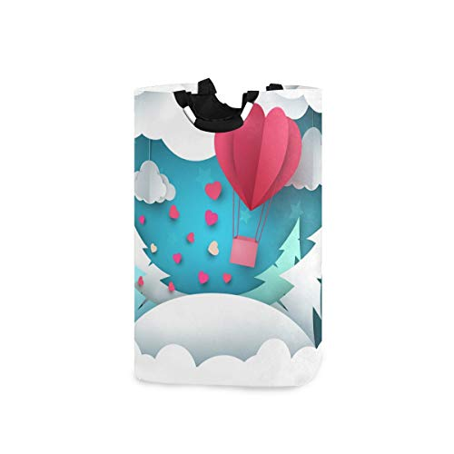 LENNEL Contenedor Grande para baño, Dormitorio, Ropa Origami Aerostat Spruce Clouds Cesto de la Ropa Cesto único con Asas