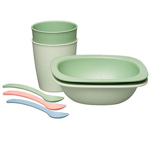 nip Eat Green öko bio Kindergeschirr Set: 2 Breischalen, 2 Becher & 3 Löffel, Baby & Kind, ohne Melamin & BPA, grün