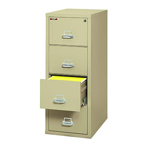 OfficeSource 4 Drawer Vertical Letter Office Filing Cabinet with High Security Lock, Environmentally Friendly Parchment Finish, ETL Water Resistance