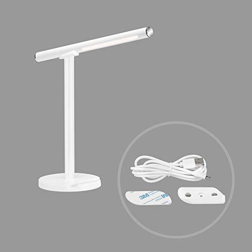Briloner Leuchten - LED Tischleuchte, Tischlampe, inkl. Wandleuchte, dimmbar, Farbtemperatursteuerung, 1,5 Watt, 200 Lumen, Weiß, 140x140x370mm (LxBxH), 7384-016