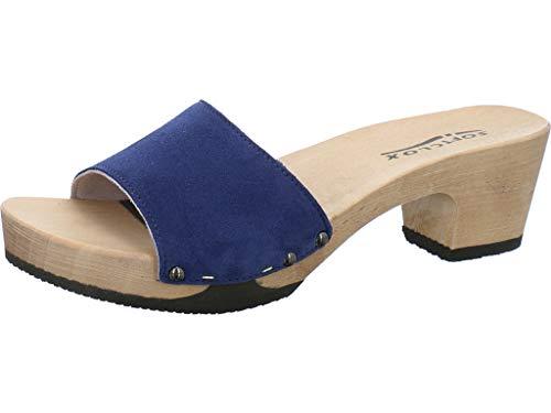 Softclox Pantolette mit Holzboden Größe 37 EU Blau (blau)