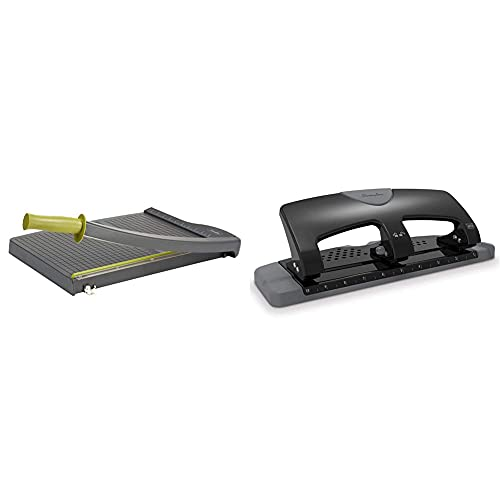 Swingline Paper Trimmer, Guillotine Paper Cutter, 15 inches Cut Length, 10 Sheet & 3 Hole Punch, Desktop Hole Puncher 3 Ring, SmartTouch Metal Paper Punch, 20 Sheet, Black/Gray (74133)
