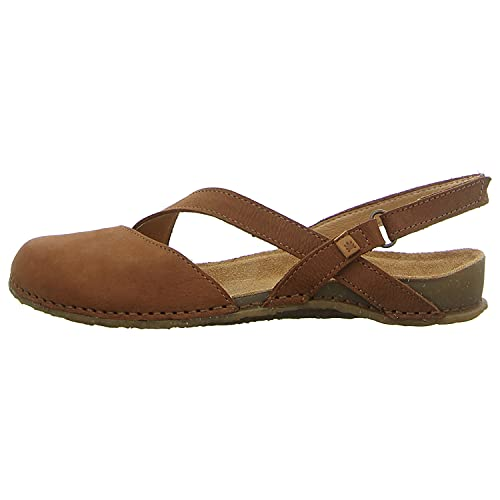 El Naturalista Mujer Sandalia con Tiras PANGLAO, señora Sandalias,Sandalia,Zapato de Verano,cómoda,Plana,Marrón (Wood /),40 EU / 7 UK