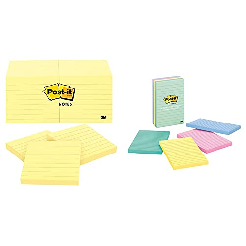 Post-it Notes 3x3 in, 12 Pads, America's's #1 Favorite Sticky Notes, Canary Yellow & Notes, 4x6 in, 5 Pads, America's #1 Favorite Sticky Notes, Marseille Collection, Pastel Colors (Pink, Mint, Yellow)