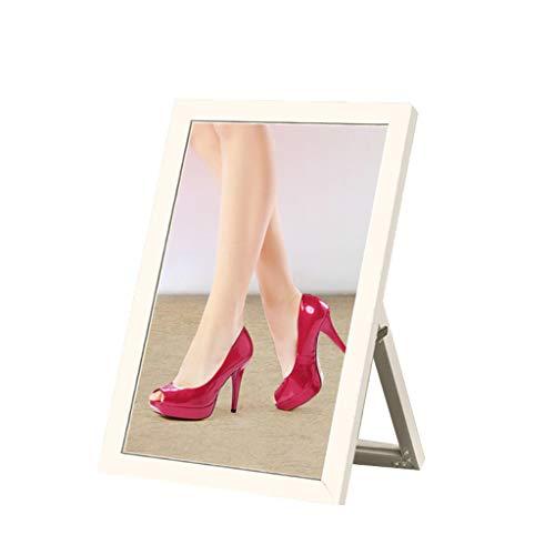 YYSYN Schuhgeschäft Boden Ändernde Schuhe Spiegel Mit Standfuß Tragen Spiegel Spiegel Silberrahmen Bekleidungsgeschäft Schuhspiegel 37 * 52cm Weiß