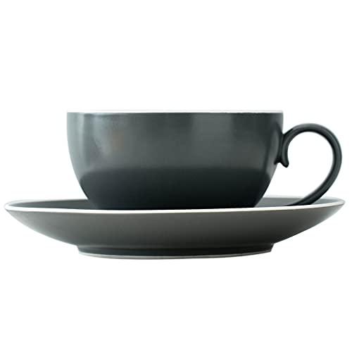 Latte Art Cup - Taza de café y platillos de cerámica apilable, 300 ml, estilo europeo de gran diámetro para la tarde de la leche y el hogar, el mejor regalo de café gris-verde