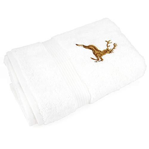 Gästehandtuch 30x 50cm Hirsh weiß/gold 600g/m2