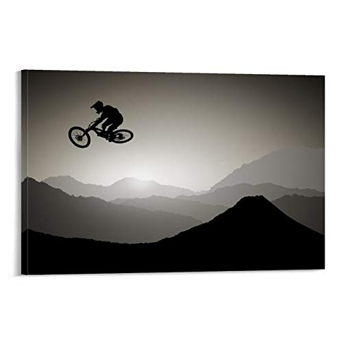LOPOA Mountain Bike Canvas Art Poster and Wall Art Picture Print Modern Family Room Decor Poster 20 x 30 inches (50 x 75 cm)