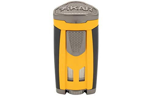 Xikar HP3 Inline Triple Flame Cigar Lighter, Attractive Gift Box, EZ-View Red Fuel Window, Honeycomb Texture, Burnt Yellow