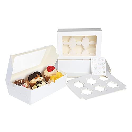 Surflyee 15PZ Cajas para Magdalenas,Cajas para Cupcakes con Bandeja y Pegatinas,Cajas para Galletas con Techo Corredizo Transparente,Adecuada para Regalos, Fiestas, Bodas, Pastelerías(6 Agujero)