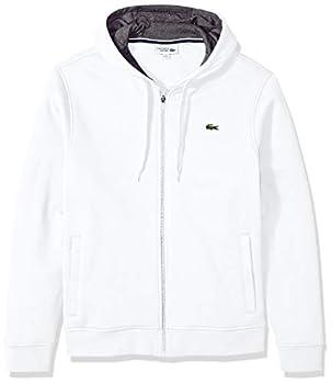 Lacoste Men s Sport Fleece Zip Up Hooded Sweatshirt White/Pitch L