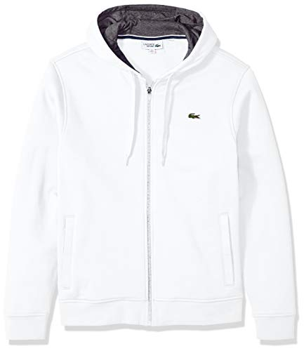 Lacoste Men's Sport Fleece Zip Up Hooded Sweatshirt, White/Pitch, L