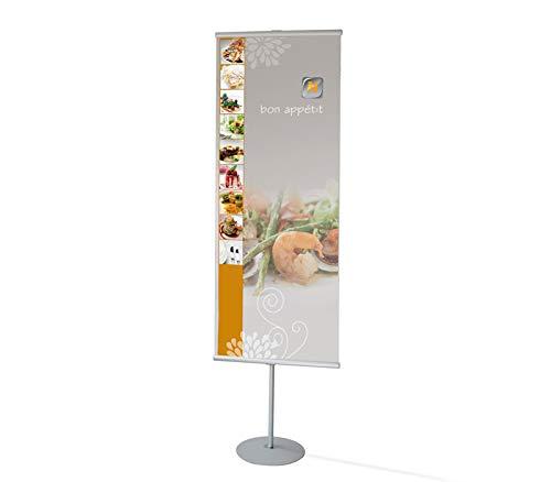 Bannerdisplay – Bannerständer aus silber eloxiertem Aluprofil – Mit Klemmleisten für Poster – Teleskopstange höhenverstellbar – inkl. Tragetasche – Bannersystem – Roll-Up (2-beidseitig, 50 cm)