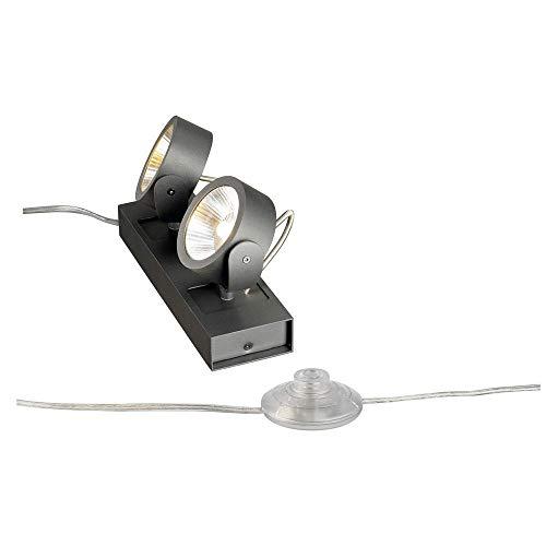 SLV Standleuchte KALU, dreh- und schwenkbar | Dimmbare Lampe, Beleuchtung innen | LED Spots, Fluter, Mobile Leuchte, Boden-Lampen, Tisch-Leuchten | 2-flammig, LED Inside, EEK A-A++